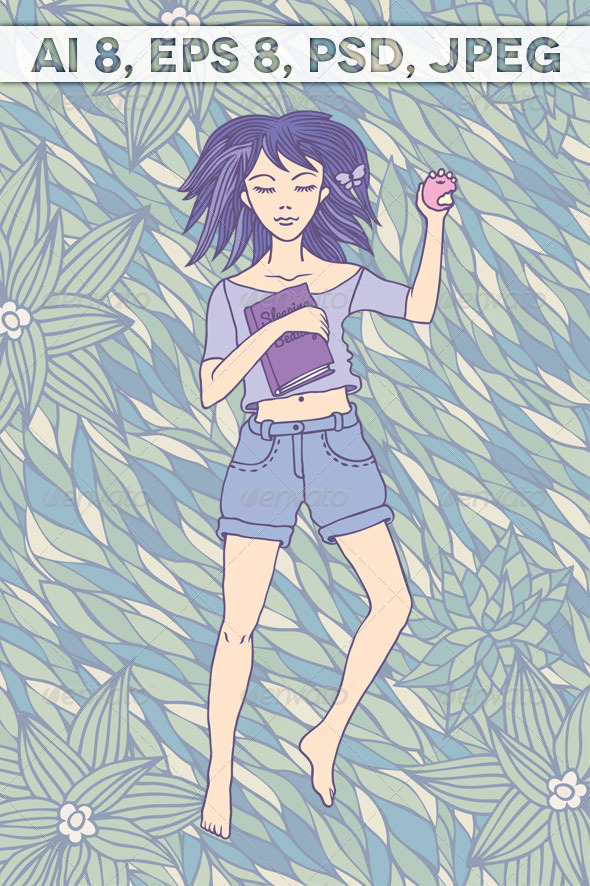 Young Girl Sleeping on the Grass - People Characters