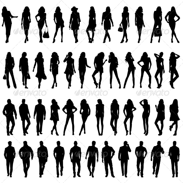 Silhouettes of Young Women and Men - People Characters