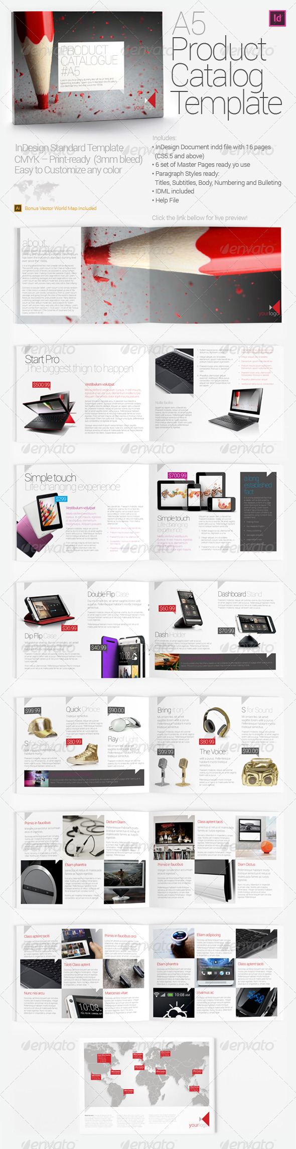 A5 Product Catalog Template - Brochures Print Templates