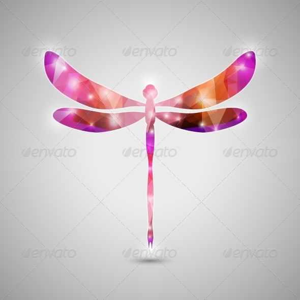 Abstract Colorful Dragonfly Icon - Decorative Symbols Decorative