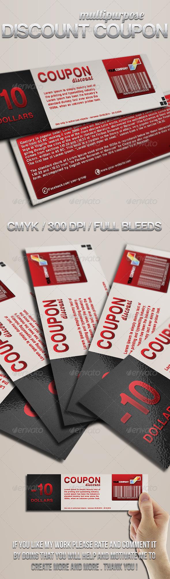Multipurpose discount coupon - Cards & Invites Print Templates