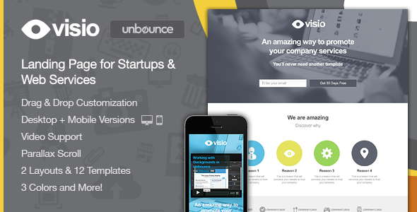 Visio - Landing Page for Startups & Web Services - Unbounce Landing Pages Marketing