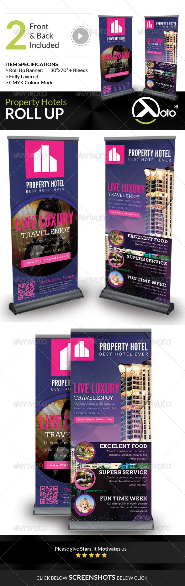 Property Hotel Roll Up Banners - Signage Print Templates