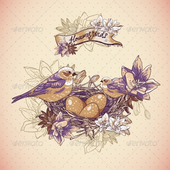 Vintage Floral Background with Birds and Nest - Patterns Decorative