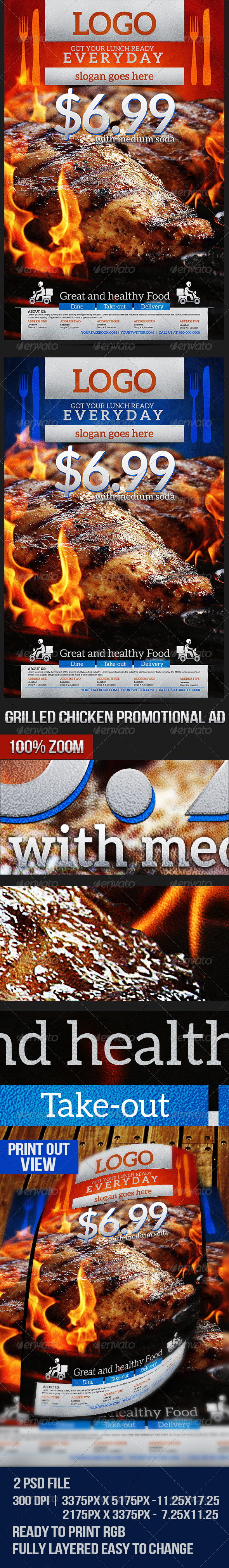 Grilled Chicken Promotional Flyer - Restaurant Flyers