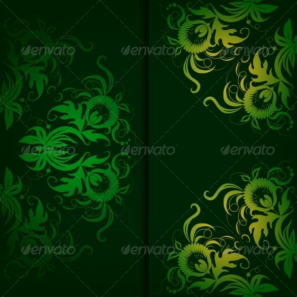 Vintage Pattern on a Dark Green Background - Backgrounds Decorative