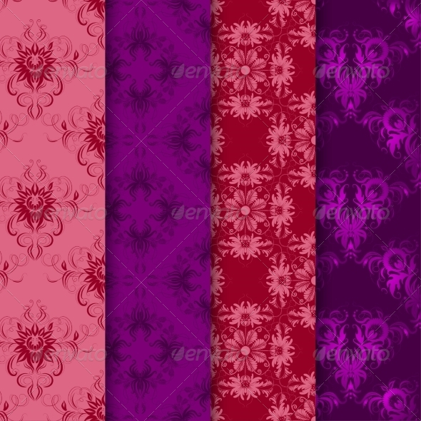 Set of Seamless Damask Ornaments - Backgrounds Decorative