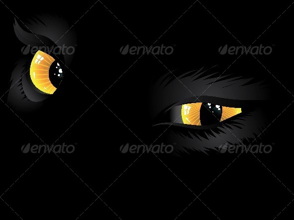 Yellow Cat Eyes in the Dark   - Animals Characters