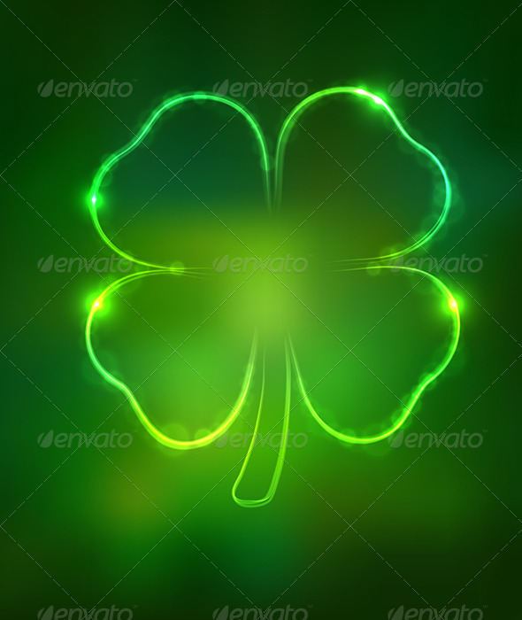 Irish Shamrock for St Patrick's Day on Dark Green  - Decorative Symbols Decorative