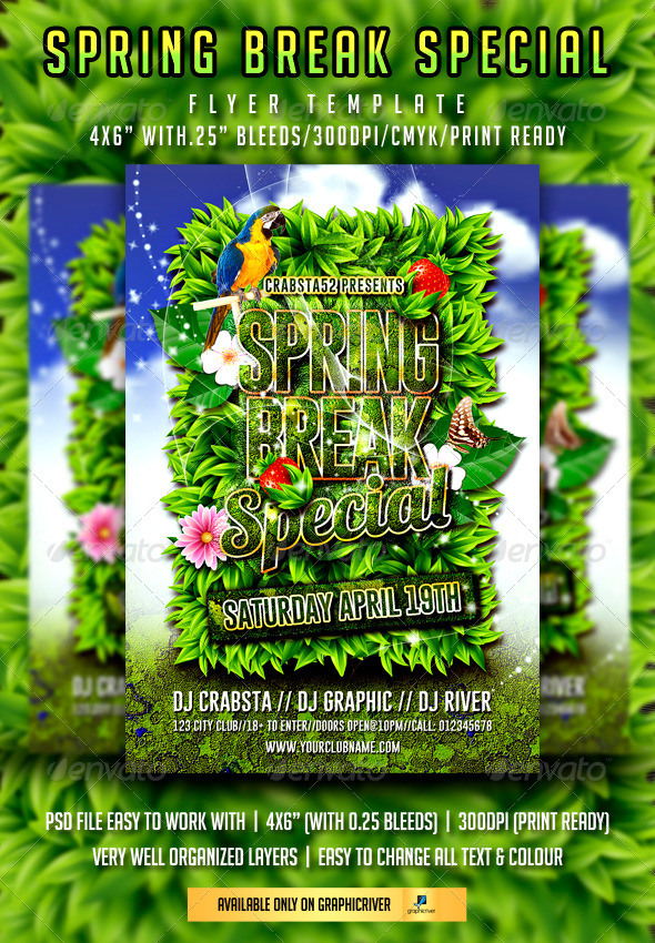 Spring Break Special Flyer Template - Flyers Print Templates