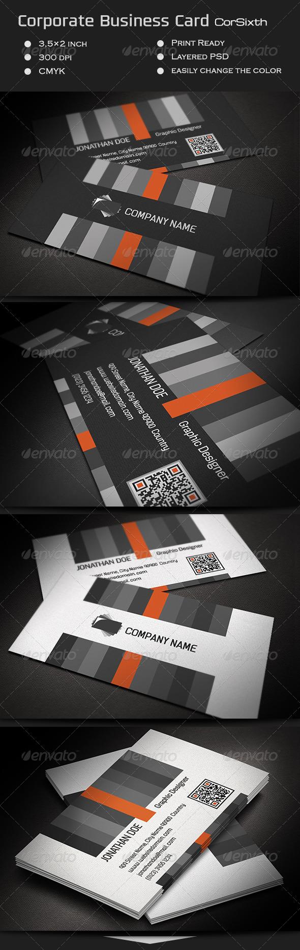 Corporate Business Card CorSixth - Corporate Business Cards