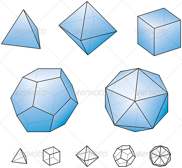 Platonic Solids With Blue Surfaces - Abstract Conceptual