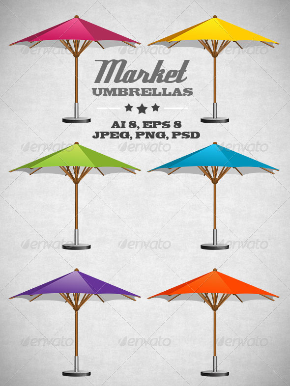 Market Umbrellas - Man-made Objects Objects