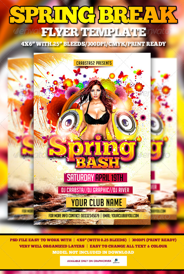 Spring Bash Flyer Template - Flyers Print Templates