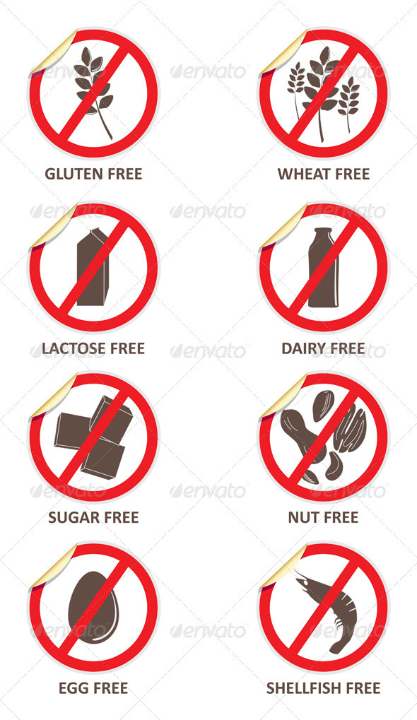 Allergy Free Curled Stickers - Health/Medicine Conceptual