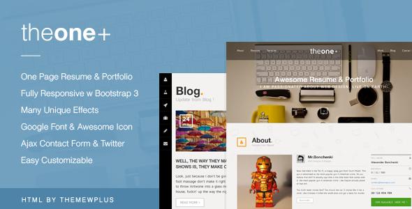 TheOnePlus – Creative Responsive Onepage Portfolio