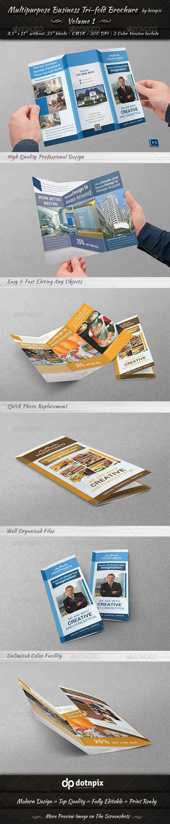 Multipurpose Business Tri-Fold Brochure | Volume 1 - Corporate Brochures