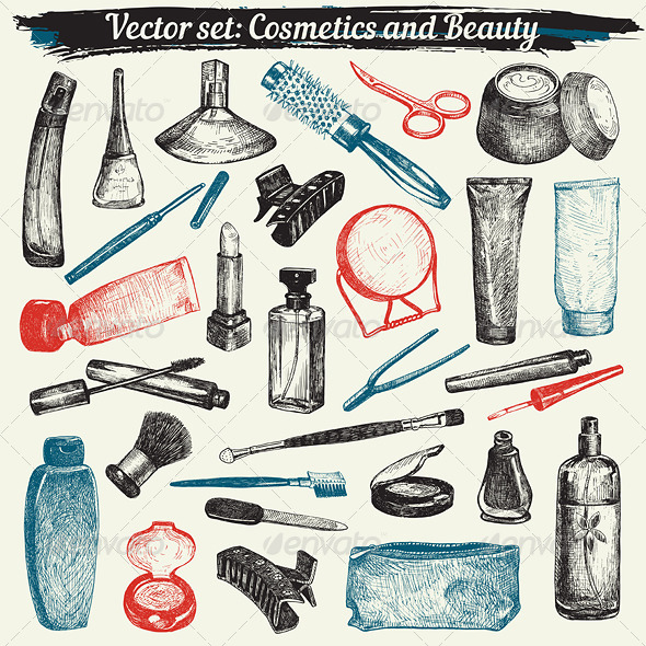 Cosmetics and Beauty Doodles Vector Set - Man-made Objects Objects
