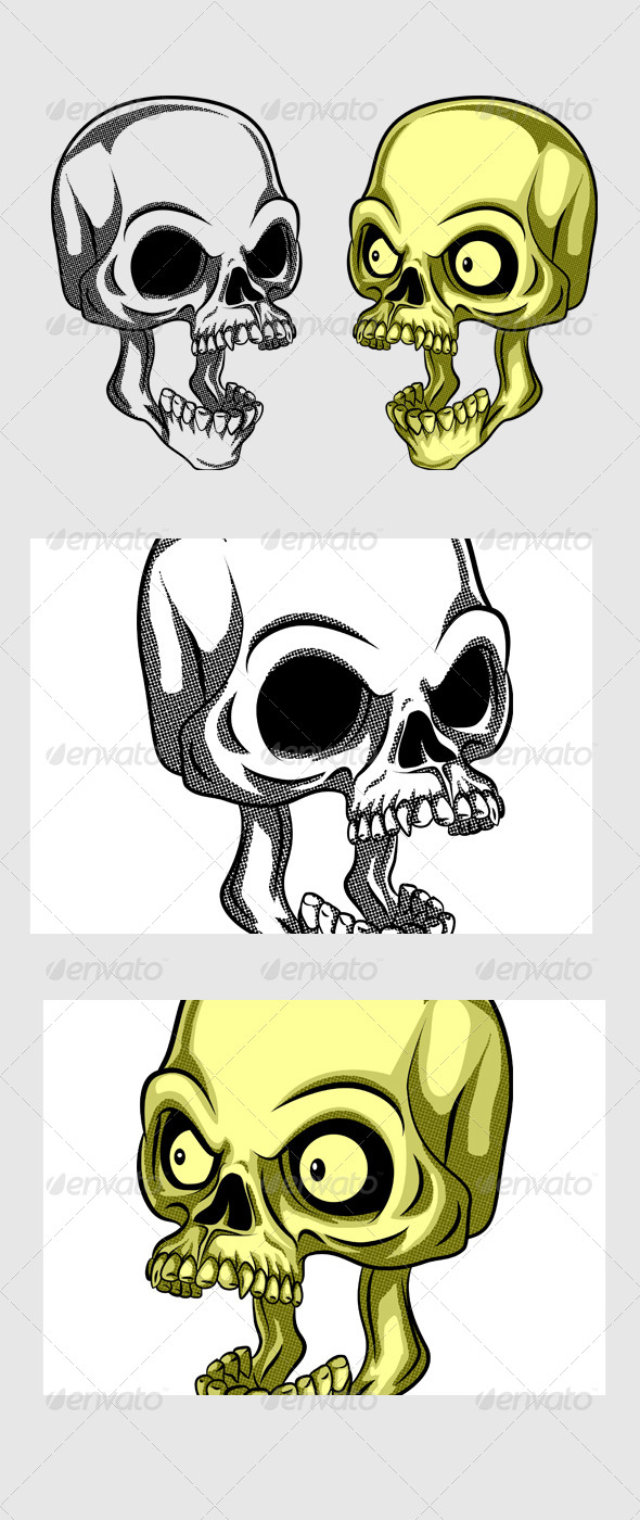 Shocking Skull - Tattoos Vectors