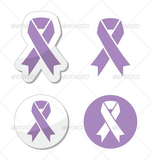 Lavender Ribbon - General Cancer Awareness - Health/Medicine Conceptual