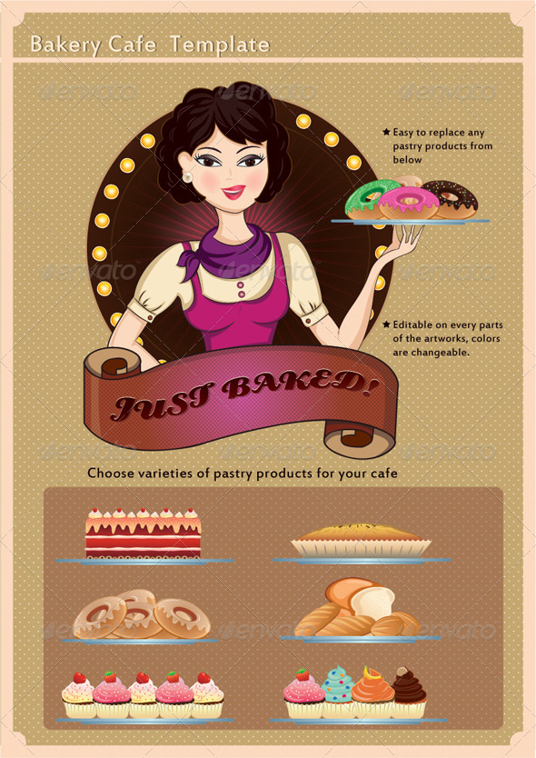 Bakery Cafe Template - Vectors