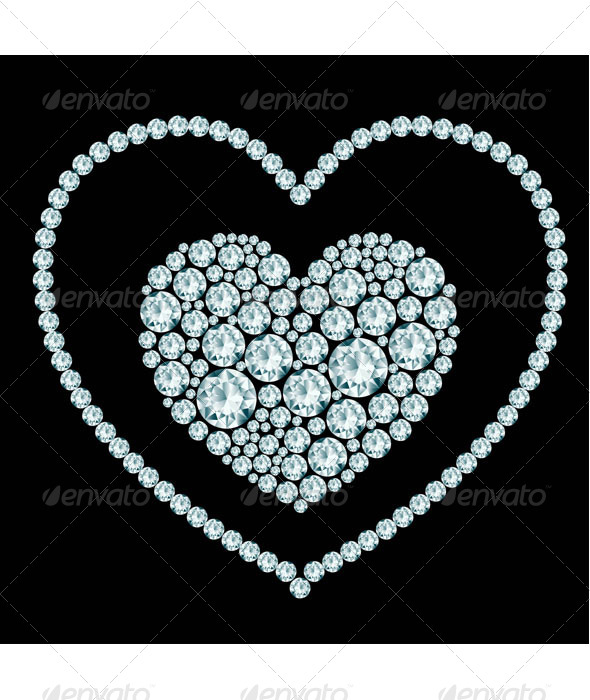 Heart Diamond Composition  - Decorative Vectors