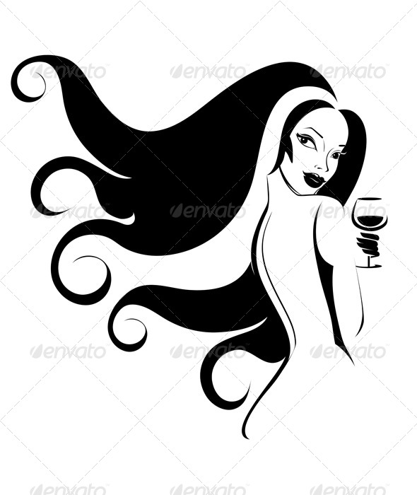 Woman with a Glass of Wine - People Characters