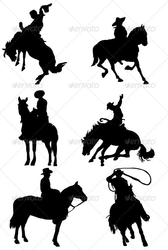 Cowboy Riding Horse Silhouettes - Characters Vectors
