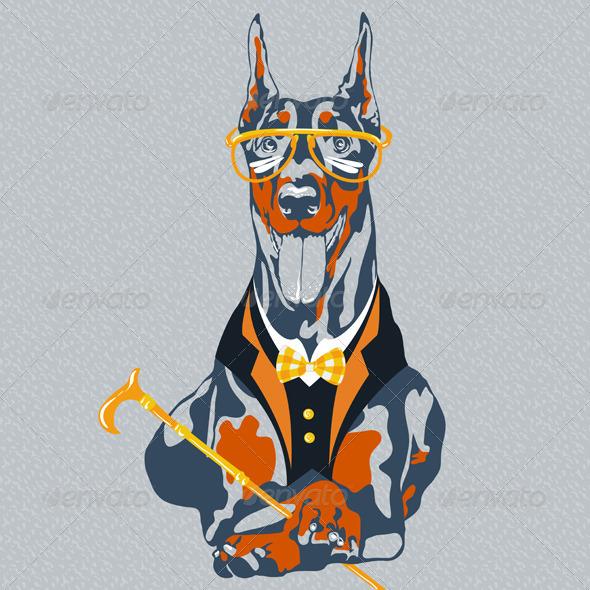 Hipster Doberman Pinscher Dog - Animals Characters