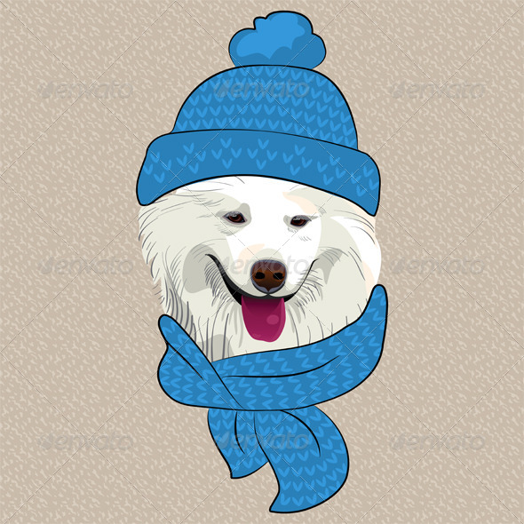 Cartoon Hipster Samoyed Dog Smile  - Animals Characters