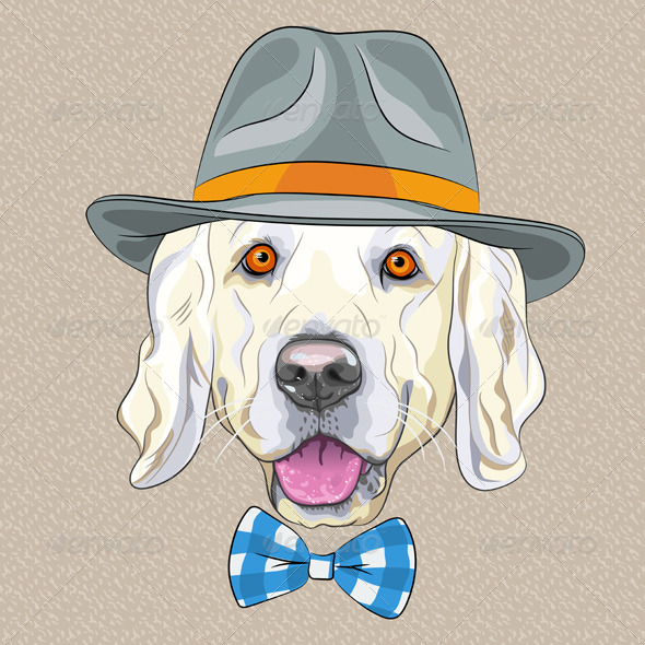 Cartoon Hipster Dog Golden Retriever breed - Animals Characters