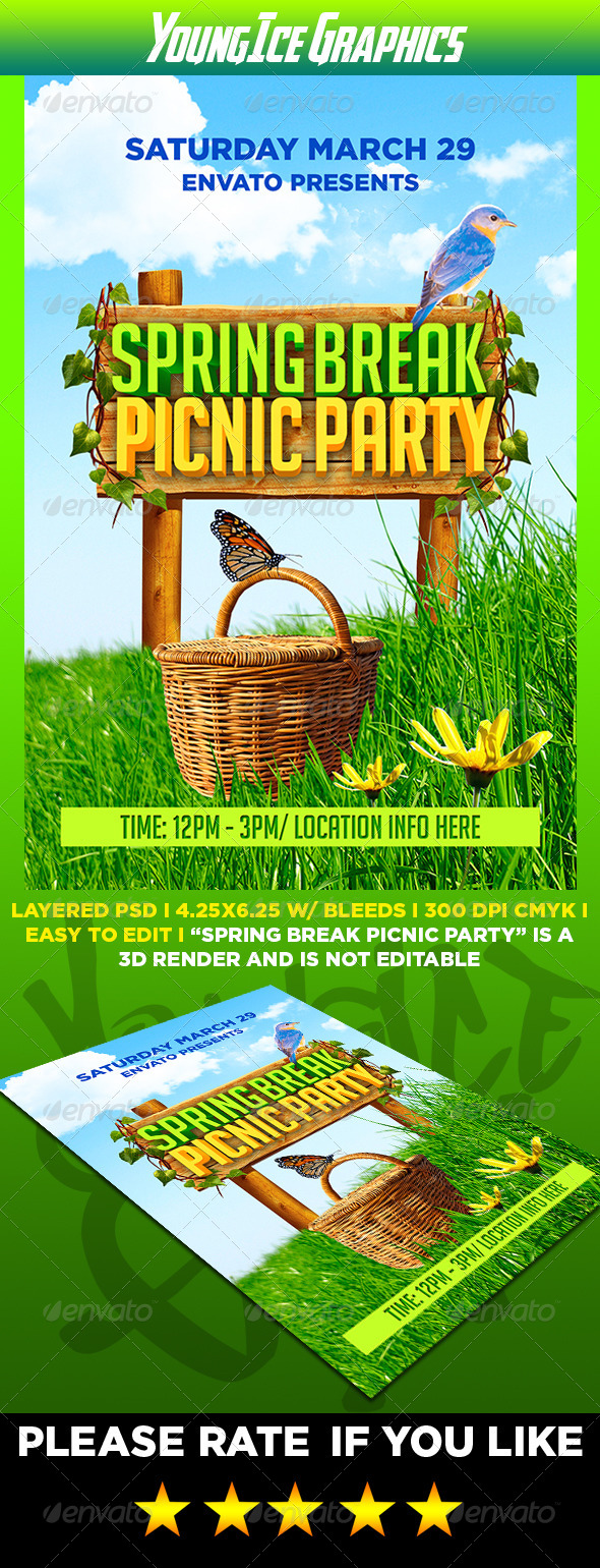 Spring Break Picnic Party Flyer - Events Flyers