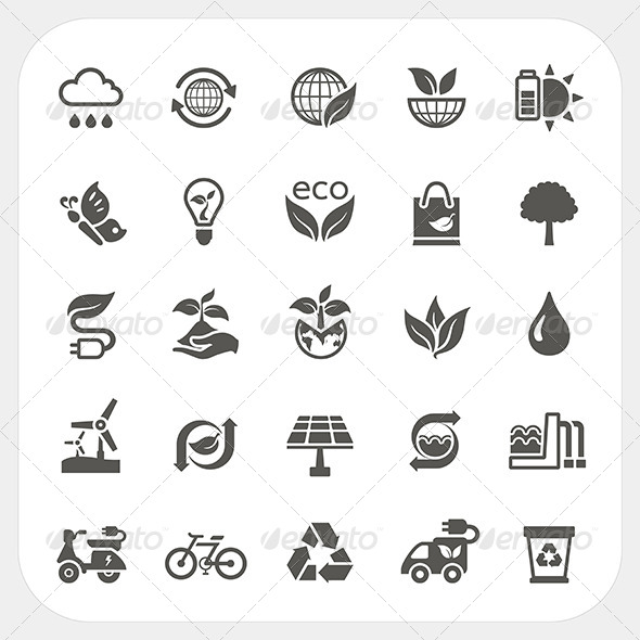 Ecology Icons Set - Nature Conceptual