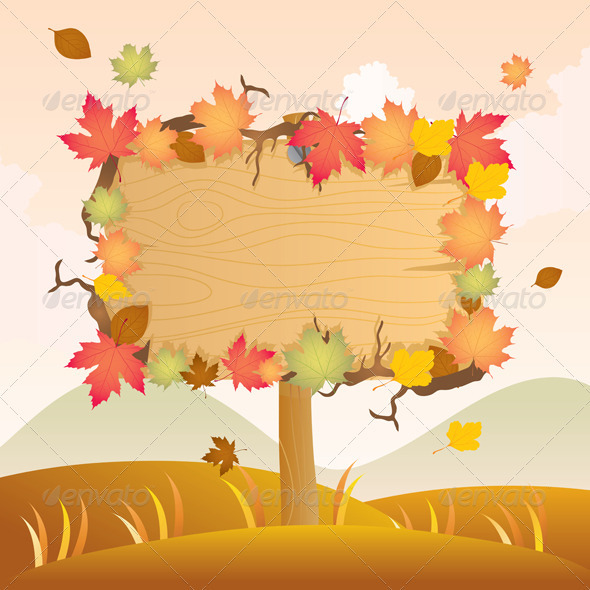 Autumn Wood Signage - Decorative Symbols Decorative