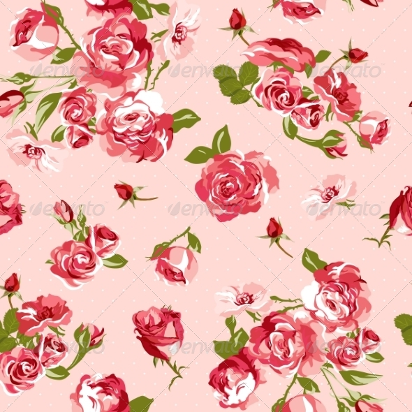 Seamless Vintage Background with Roses  - Patterns Decorative