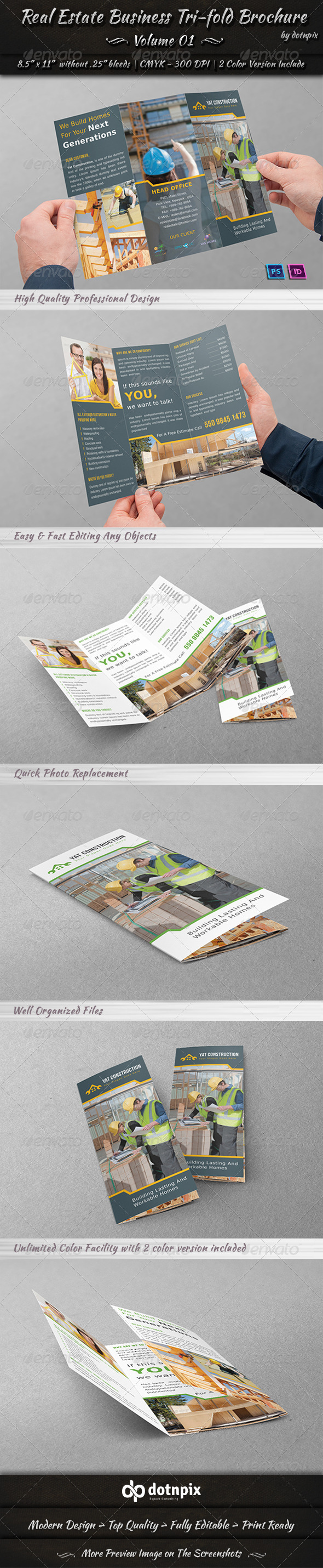 Real Estate Business Tri-fold Brochure | Volume 1 - Corporate Brochures