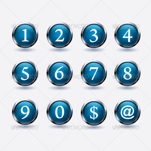 Set of Buttons with Number - Miscellaneous Vectors