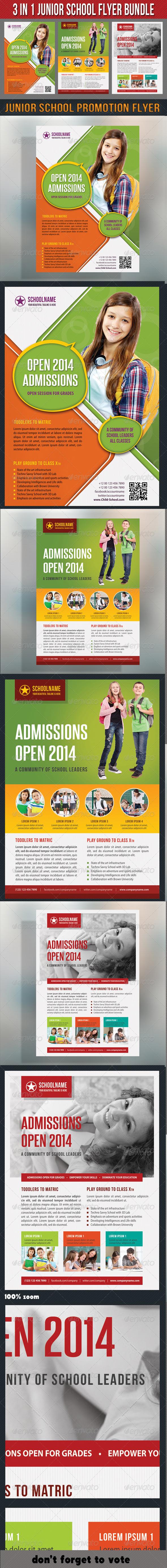 3 in 1 Junior School Promotion Flyer Bundle 02 - Events Flyers