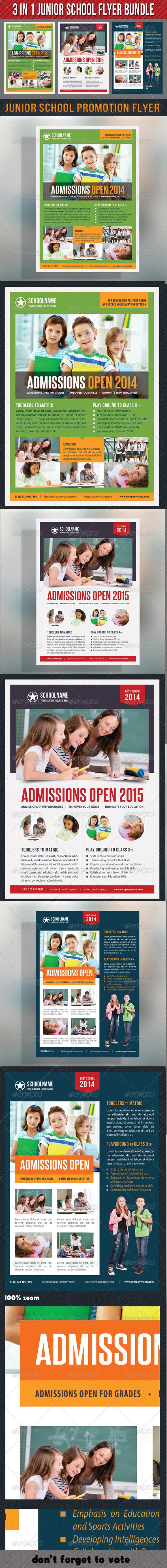 3 in 1 Junior School Promotion Flyer Bundle 03 - Events Flyers