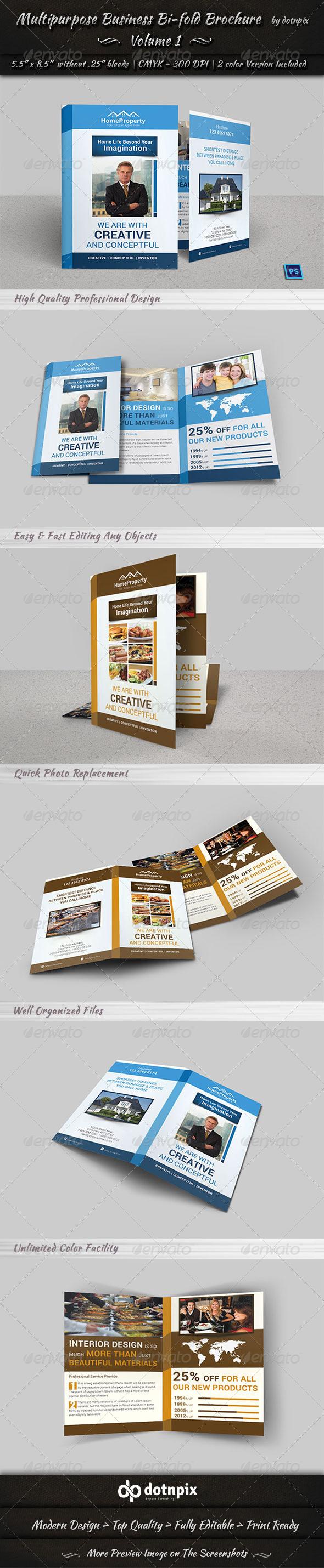 Multipurpose Business Bi-Fold Brochure | Volume 1 - Corporate Brochures
