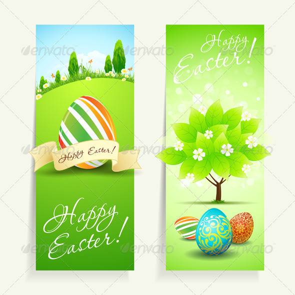 Set of Easter Cards with Decorated Eggs - Seasons/Holidays Conceptual