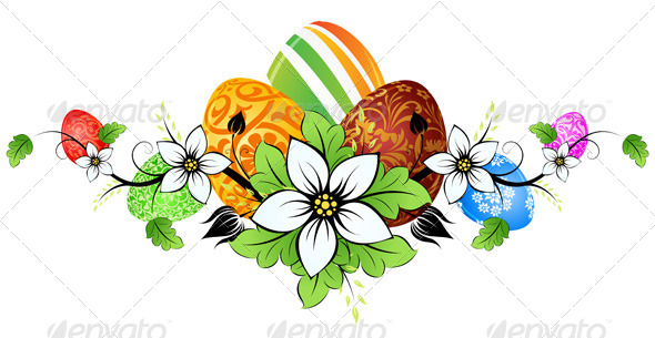 Easter Eggs with Flowers - Seasons/Holidays Conceptual