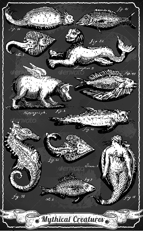 Vintage Set of Mythical Creatures on Blackboard - Animals Characters