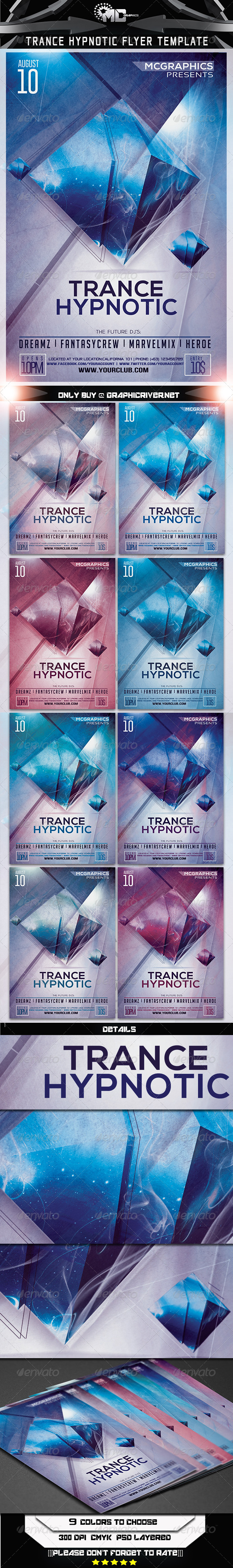 Trance Hypnotic Flyer Template - Clubs & Parties Events