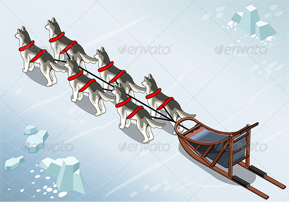Isometric Sled Dogs in Rear View on Ice - Animals Characters