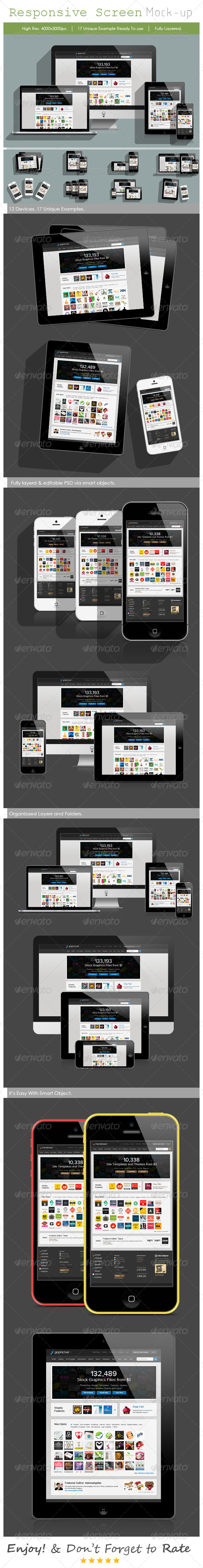 Responsive Screen Mock-up (Long Shadow) - Displays Product Mock-Ups