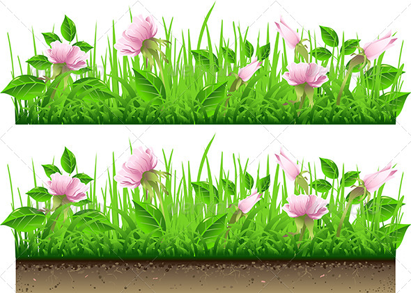 Grass border with flowers by aurielaki graphicriver for Best grasses for borders
