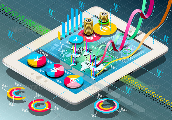Isometric Business Infographic on Tablet - Business Conceptual