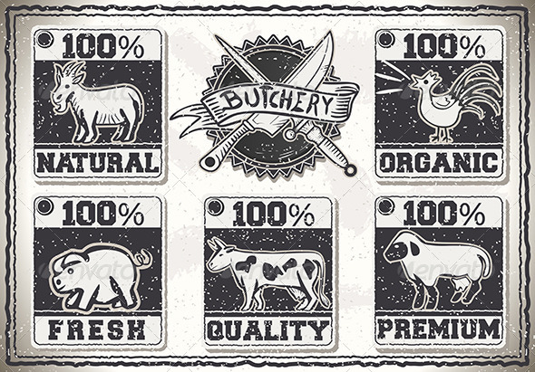 Vintage Page  for Butcher Shop Labels - Food Objects