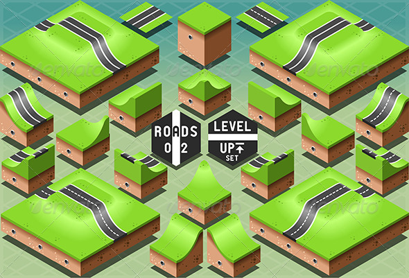 Isometric Roads on Two Levels Terrain - Buildings Objects
